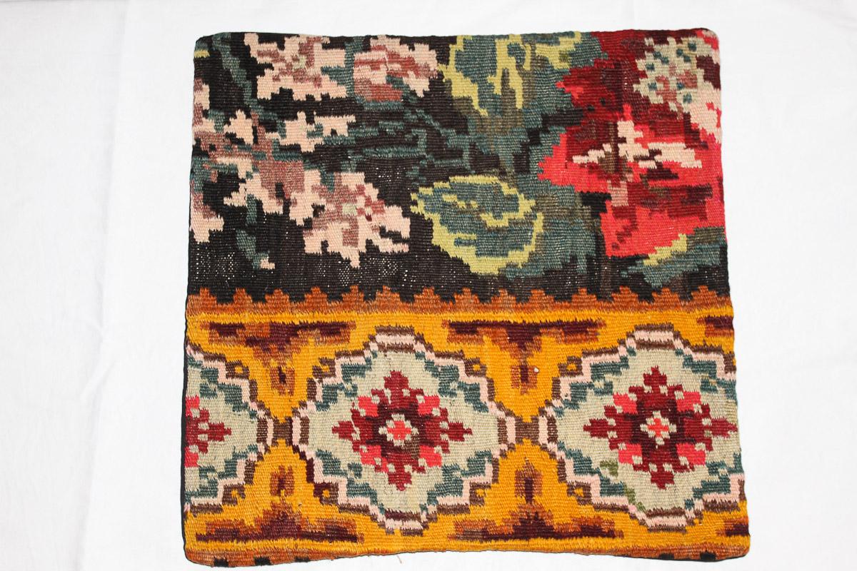 Rozenkelim kussen nr 16053 (45cm x 45cm) Kussen gemaakt van authentieke rozenkelim, inclusief binnenkussen