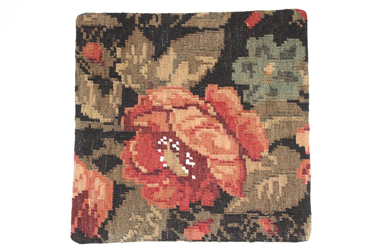 Rozenkelim kussen nr 16056 (45cm x 45cm) Kussen gemaakt van authentieke rozenkelim, inclusief binnenkussen