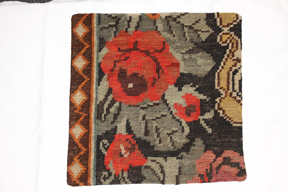 Rozenkelim kussen nr 16063 (45cm x 45cm) Kussen gemaakt van authentieke rozenkelim, inclusief binnenkussen