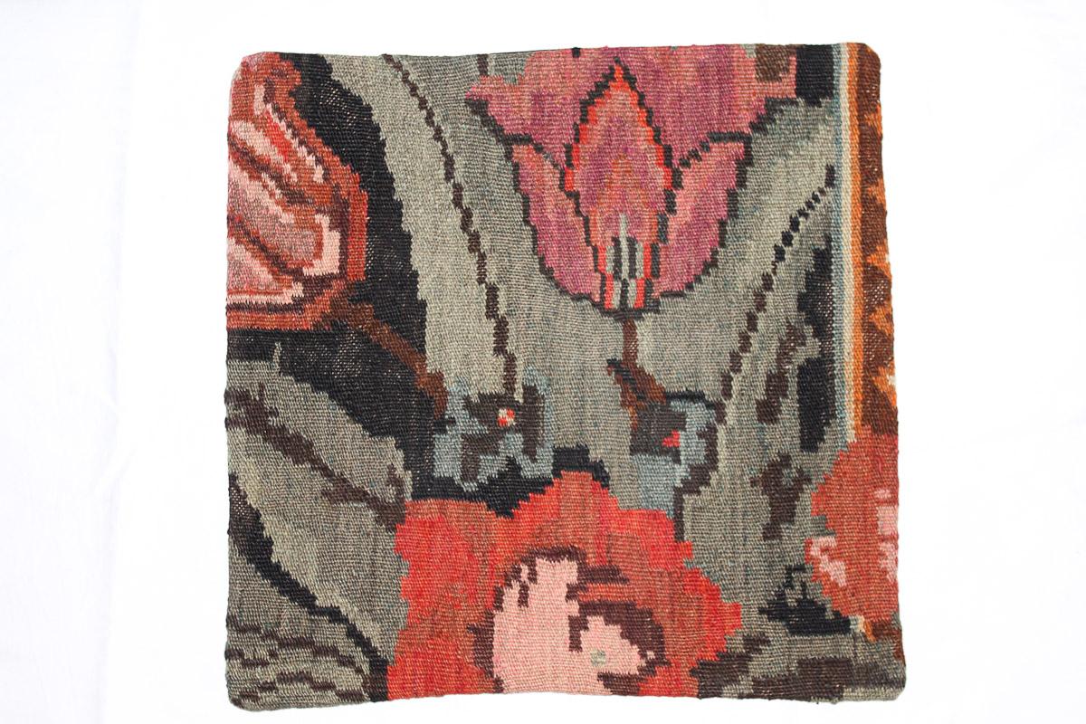 Rozenkelim kussen nr 16072 (45cm x 45cm) Kussen gemaakt van authentieke rozenkelim, inclusief binnenkussen