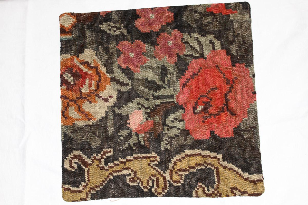 Rozenkelim kussen nr 16074 (45cm x 45cm) Kussen gemaakt van authentieke rozenkelim, inclusief binnenkussen