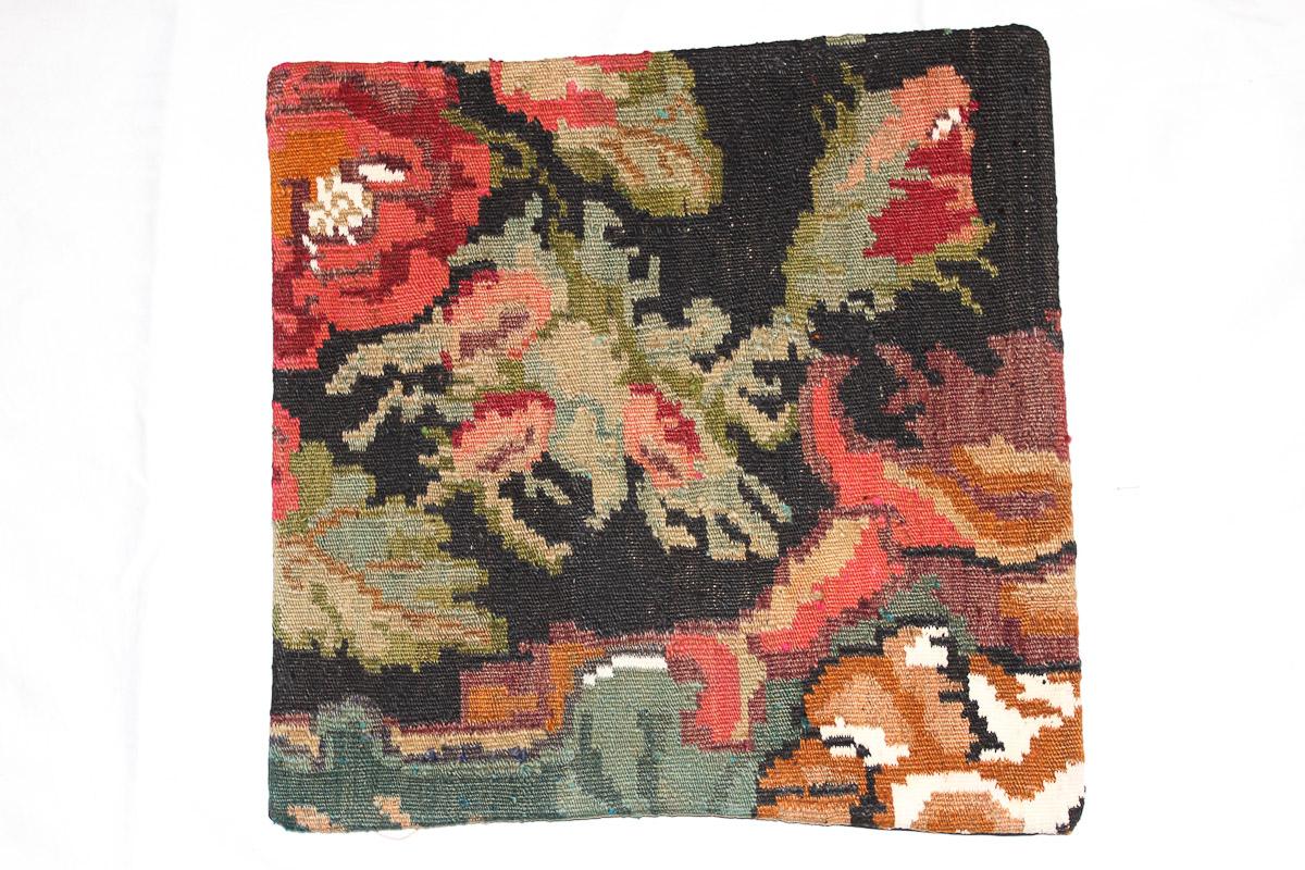 Rozenkelim kussen nr 16083 (45cm x 45cm) Kussen gemaakt van authentieke rozenkelim, inclusief binnenkussen