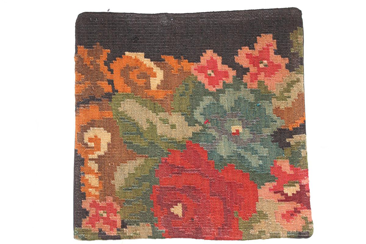 Rozenkelim kussen nr 16084 (45cm x 45cm) Kussen gemaakt van authentieke rozenkelim, inclusief binnenkussen