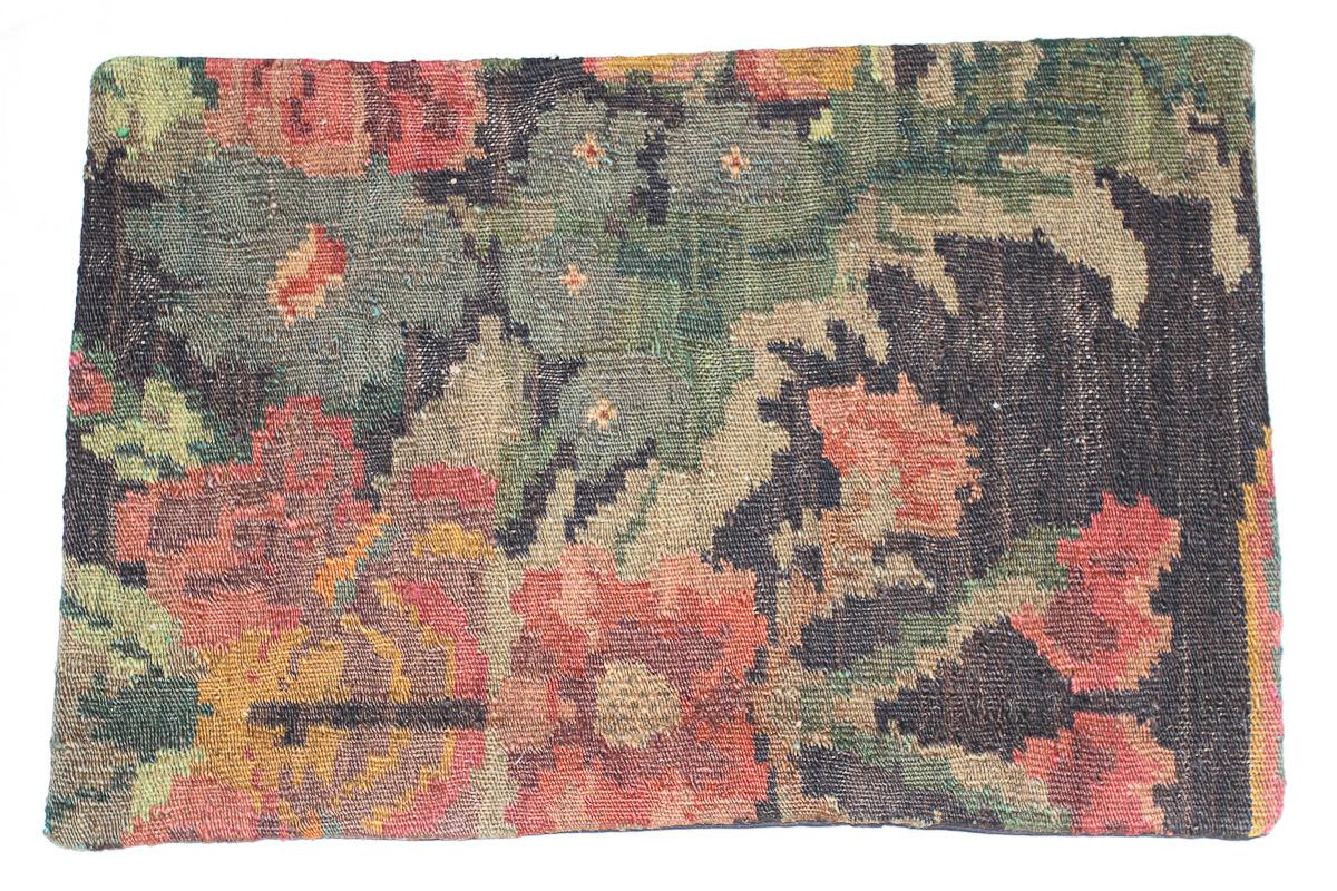 Rozenkelim kussen nr 1609 (60cm x 40cm) Kussen gemaakt van authentieke rozenkelim, inclusief binnenkussen
