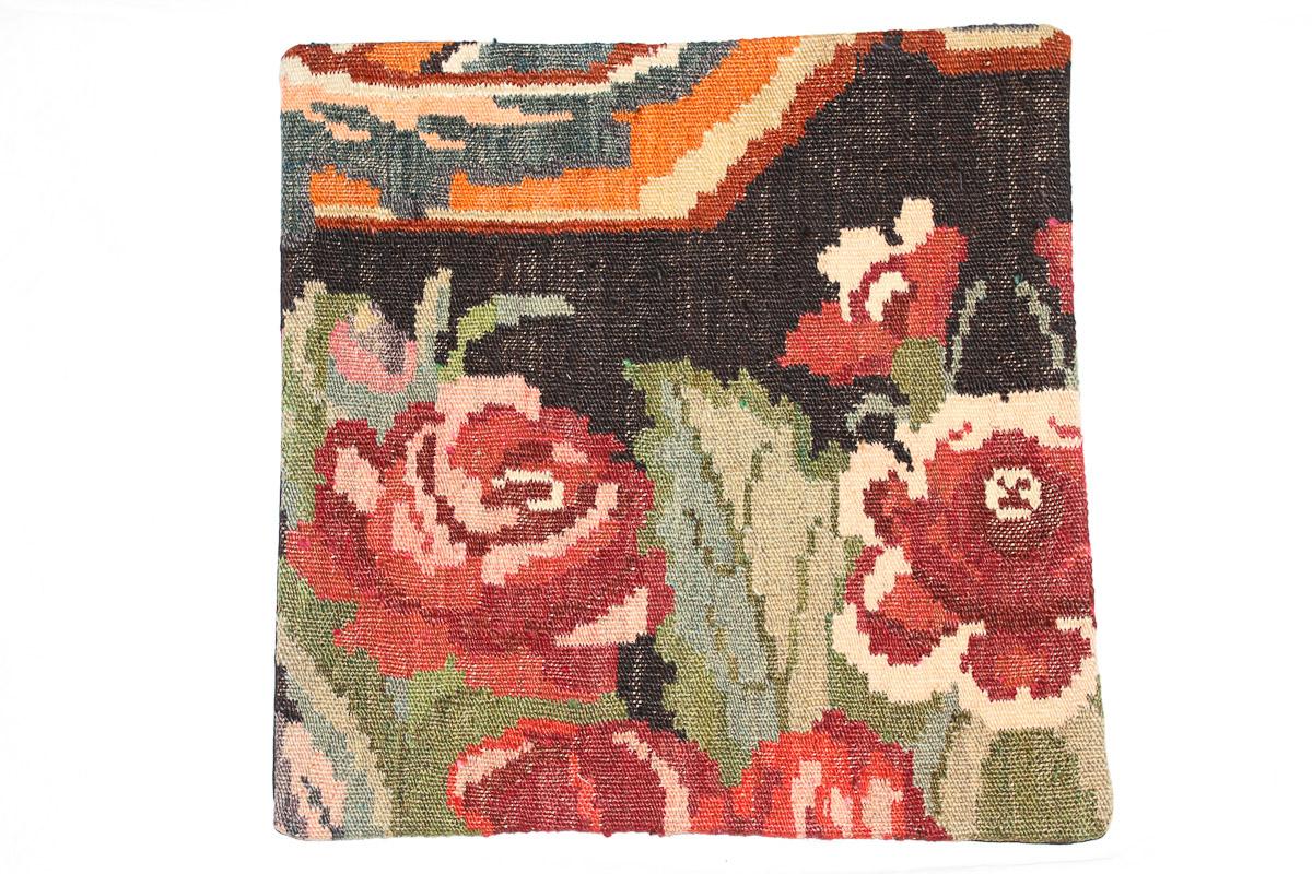 Rozenkelim kussen nr 16092 (45cm x 45cm) Kussen gemaakt van authentieke rozenkelim, inclusief binnenkussen