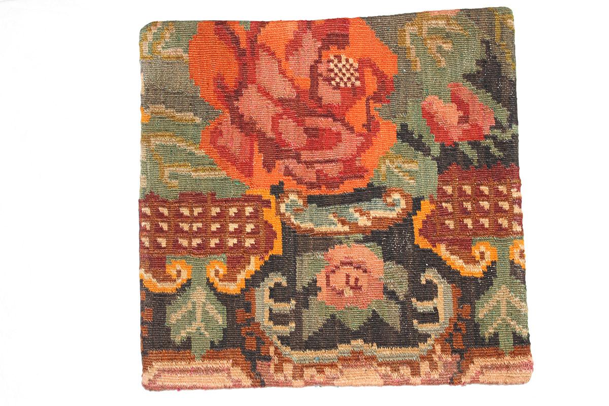 Rozenkelim kussen nr 16096 (45cm x 45cm) Kussen gemaakt van authentieke rozenkelim, inclusief binnenkussen