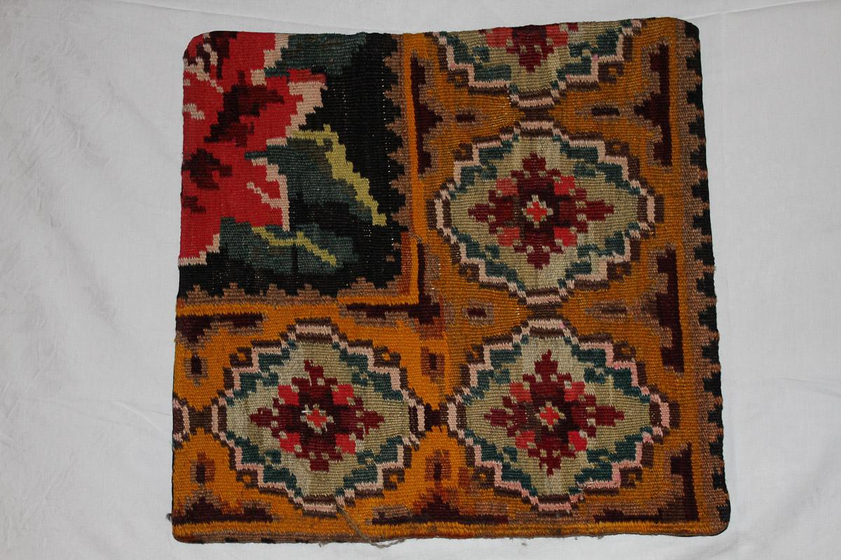 Rozenkelim kussen nr 16097 (45cm x 45cm) Kussen gemaakt van authentieke rozenkelim, inclusief binnenkussen