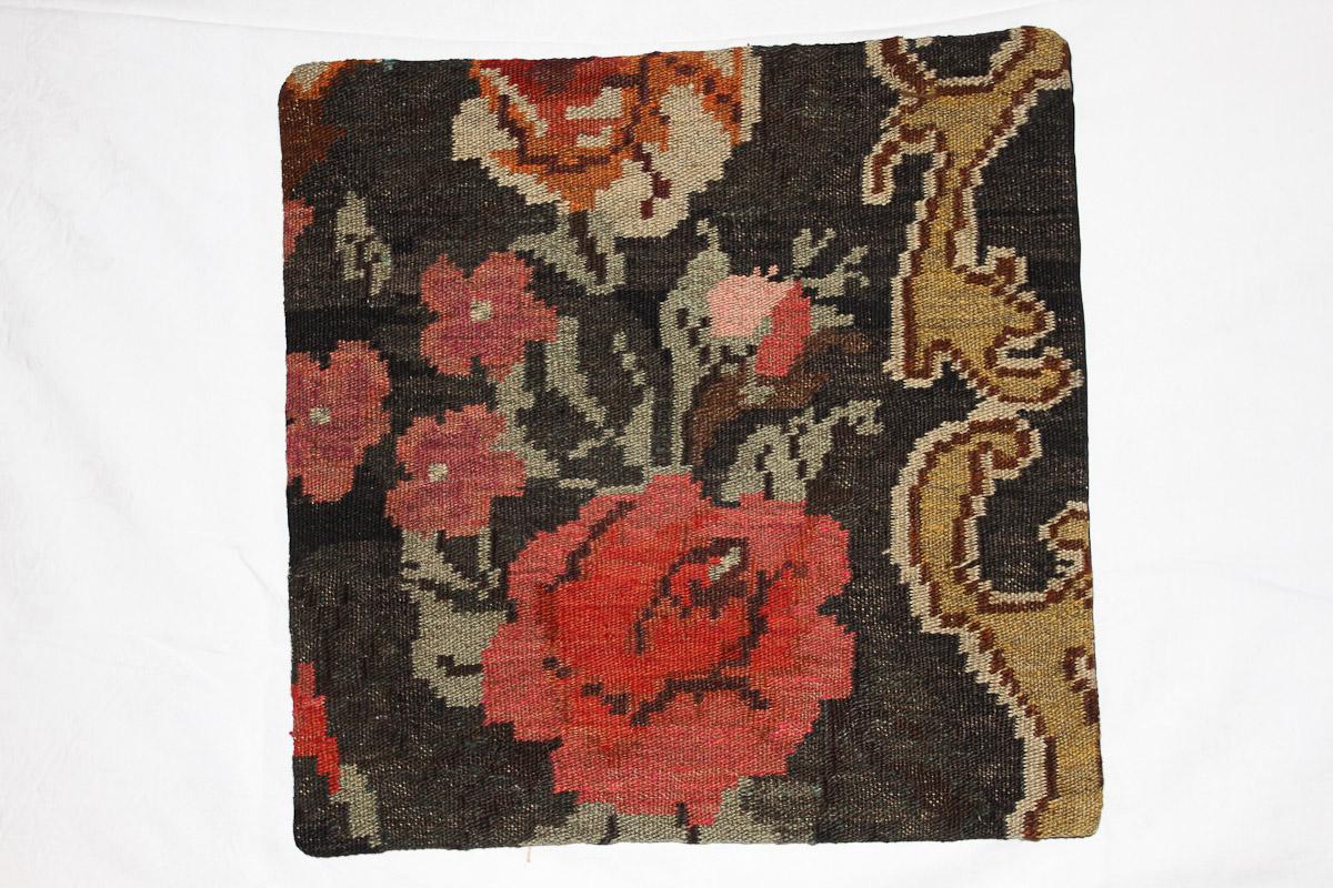 Rozenkelim kussen nr 16100 (45cm x 45cm) Kussen gemaakt van authentieke rozenkelim, inclusief binnenkussen