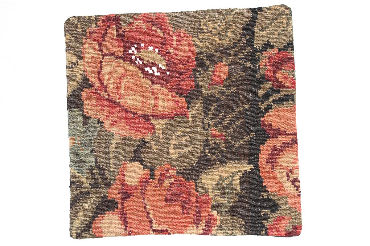 Rozenkelim kussen nr 16101 (45cm x 45cm) Kussen gemaakt van authentieke rozenkelim, inclusief binnenkussen