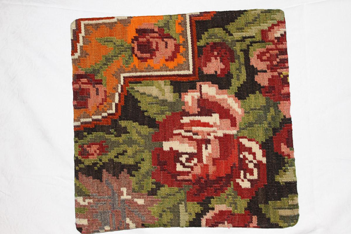 Rozenkelim kussen nr 16108 (45cm x 45cm) Kussen gemaakt van authentieke rozenkelim, inclusief binnenkussen