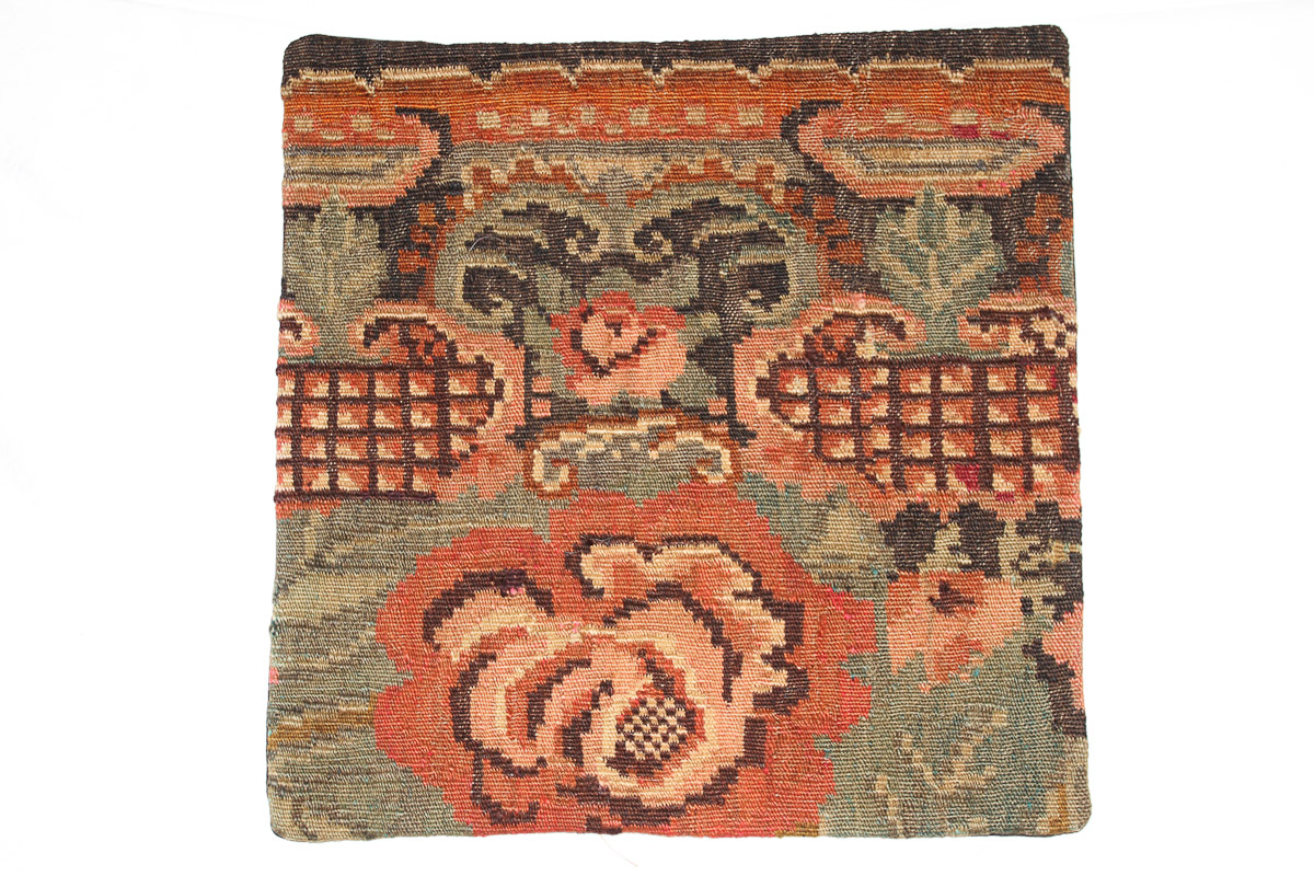 Rozenkelim kussen nr 16110 (45cm x 45cm) Kussen gemaakt van authentieke rozenkelim, inclusief binnenkussen