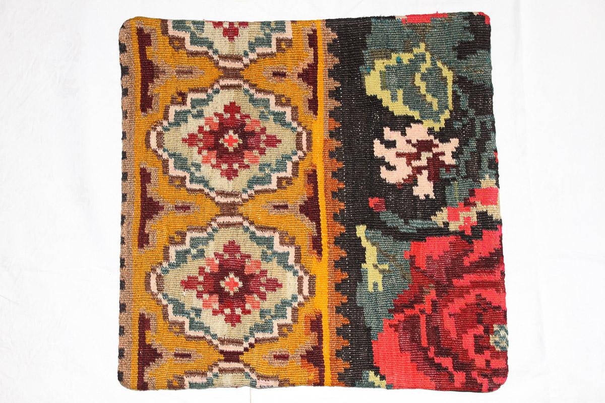 Rozenkelim kussen nr 16112 (45cm x 45cm) Kussen gemaakt van authentieke rozenkelim, inclusief binnenkussen