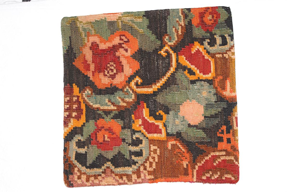 Rozenkelim kussen nr 16117 (45cm x 45cm) Kussen gemaakt van authentieke rozenkelim, inclusief binnenkussen