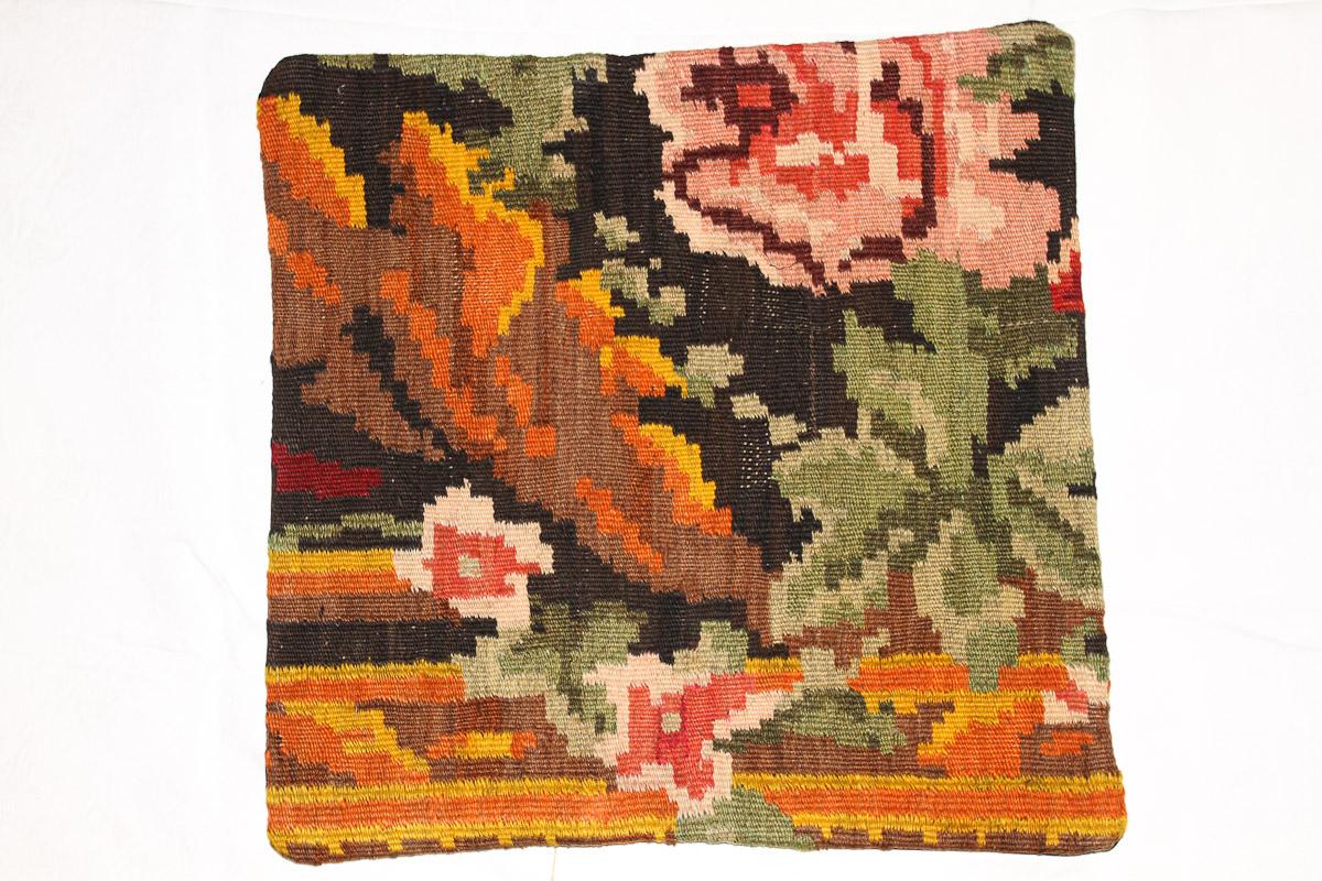 Rozenkelim kussen nr 16120 (45cm x 45cm) Kussen gemaakt van authentieke rozenkelim, inclusief binnenkussen
