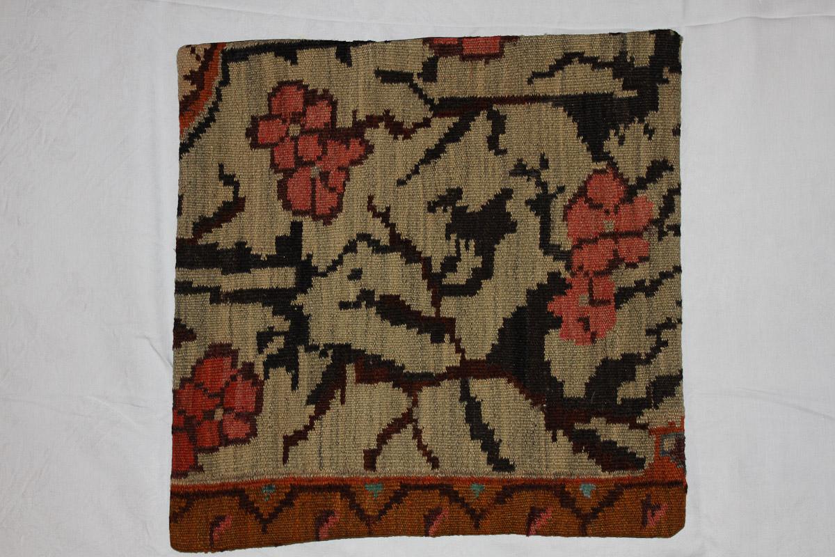 Rozenkelim kussen nr 16122 (45cm x 45cm) Kussen gemaakt van authentieke rozenkelim, inclusief binnenkussen