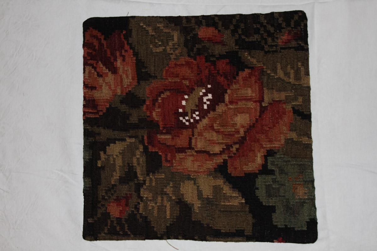 Rozenkelim kussen nr 16124 (45cm x 45cm) Kussen gemaakt van authentieke rozenkelim, inclusief binnenkussen