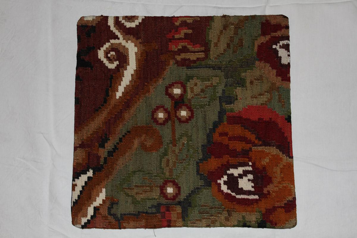 Rozenkelim kussen nr 16130 (45cm x 45cm) Kussen gemaakt van authentieke rozenkelim, inclusief binnenkussen