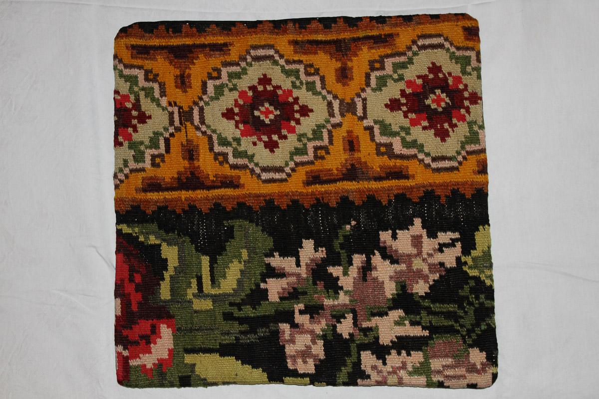 Rozenkelim kussen nr 16132 (45cm x 45cm) Kussen gemaakt van authentieke rozenkelim, inclusief binnenkussen