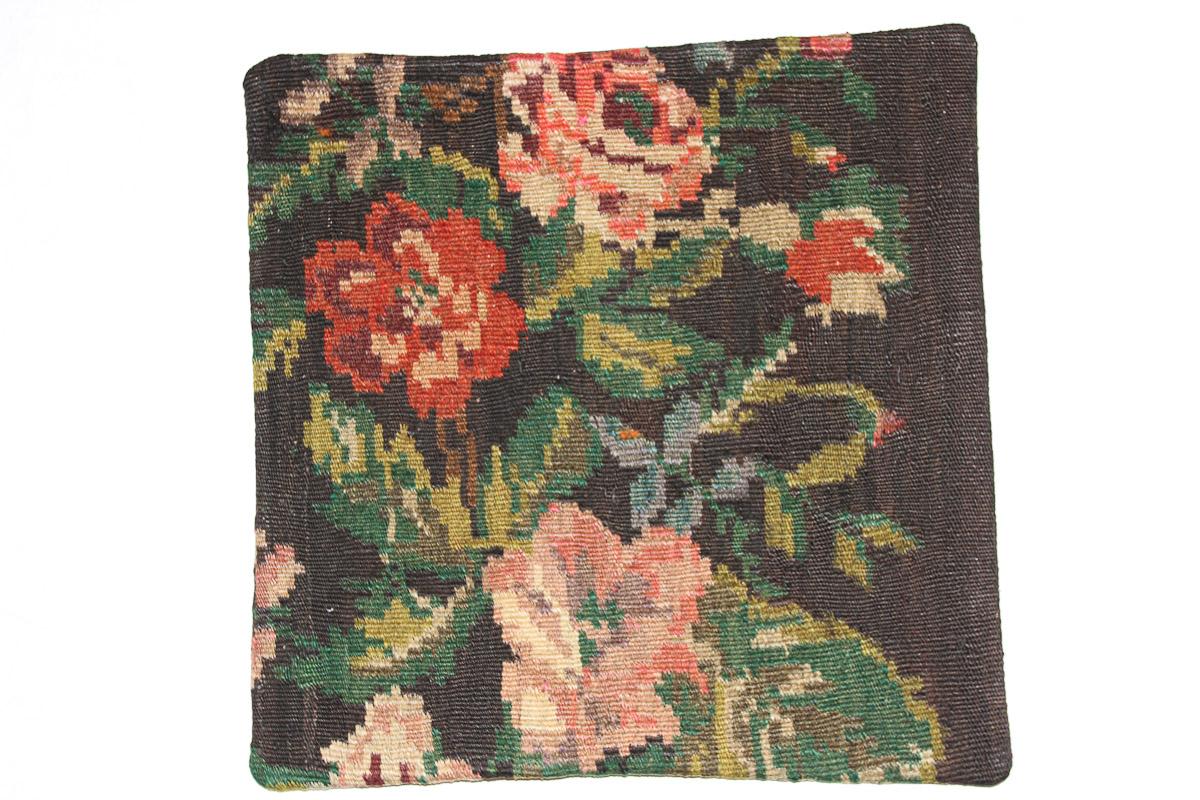 Rozenkelim kussen nr 16138 (45cm x 45cm) Kussen gemaakt van authentieke rozenkelim, inclusief binnenkussen