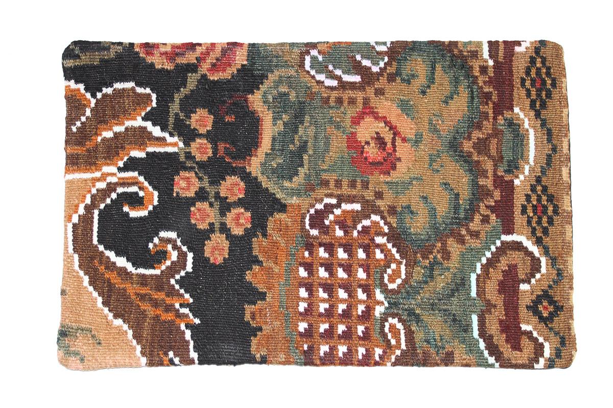 Rozenkelim kussen nr 1616 (60 cm x 40 cm) Kussen gemaakt van authentieke rozenkelim, inclusief binnenkussen