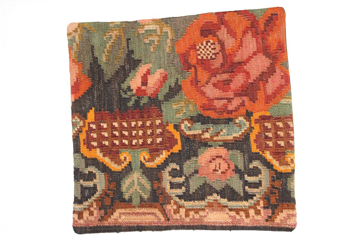 Rozenkelim kussen nr 16160 (45cm x 45cm) Kussen gemaakt van authentieke rozenkelim, inclusief binnenkussen