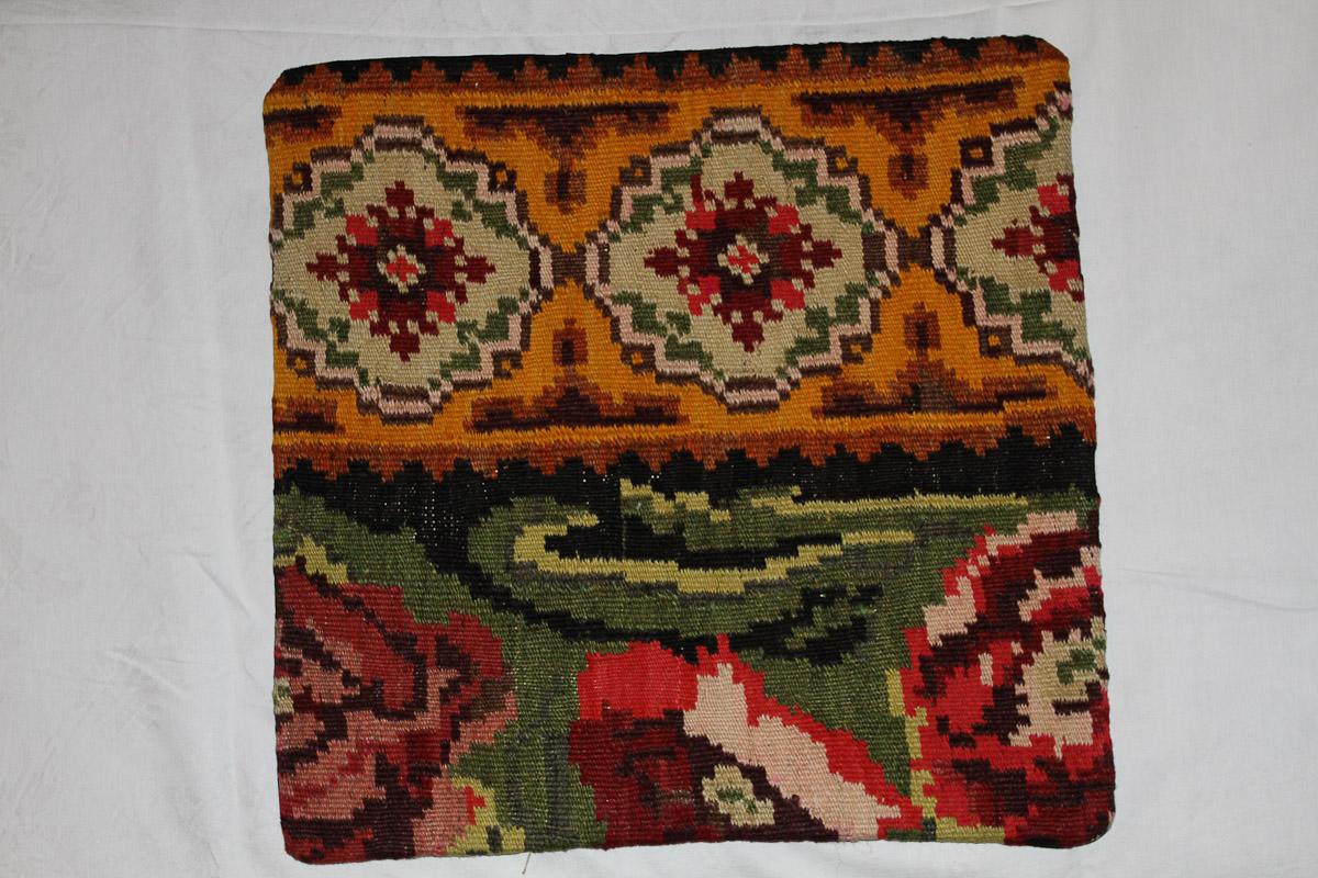 Rozenkelim kussen nr 16161 (45cm x 45cm) Kussen gemaakt van authentieke rozenkelim, inclusief binnenkussen