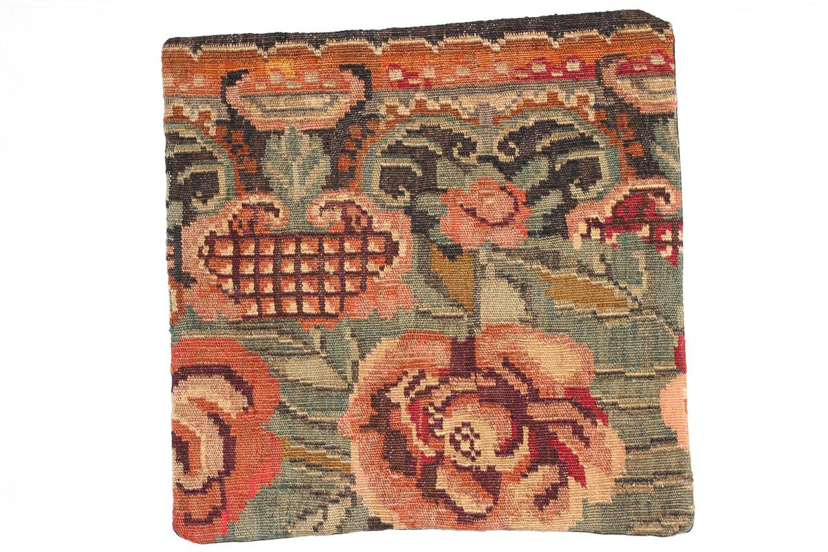 Rozenkelim kussen nr 16168 (45cm x 45cm) Kussen gemaakt van authentieke rozenkelim, inclusief binnenkussen