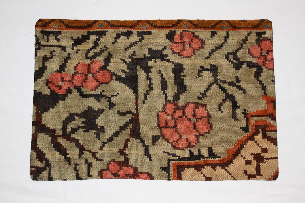 Rozenkelim kussen nr 1617 (60 cm x 40 cm) Kussen gemaakt van authentieke rozenkelim, inclusief binnenkussen