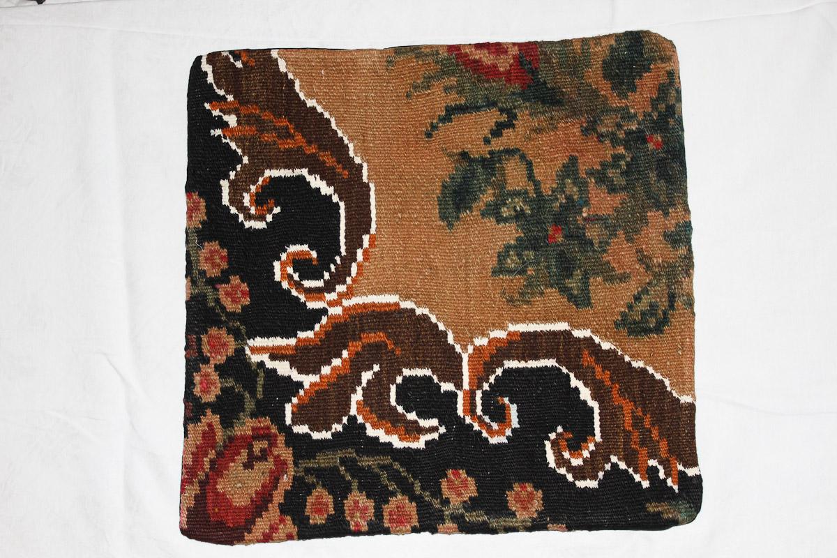 Rozenkelim kussen nr 16170 (45cm x 45cm) Kussen gemaakt van authentieke rozenkelim, inclusief binnenkussen