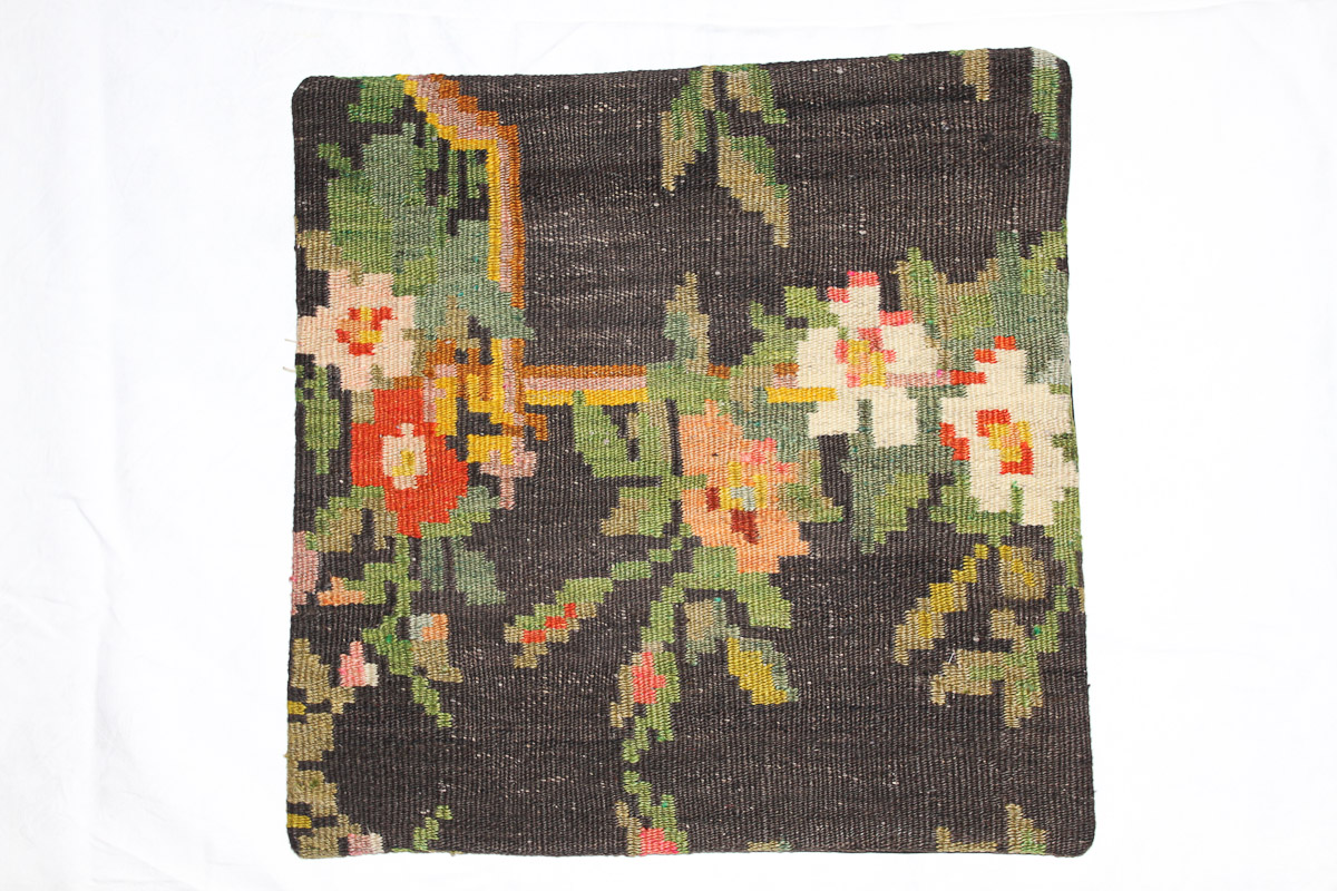Rozenkelim kussen nr 16177 (45cm x 45cm) Kussen gemaakt van authentieke rozenkelim, inclusief binnenkussen