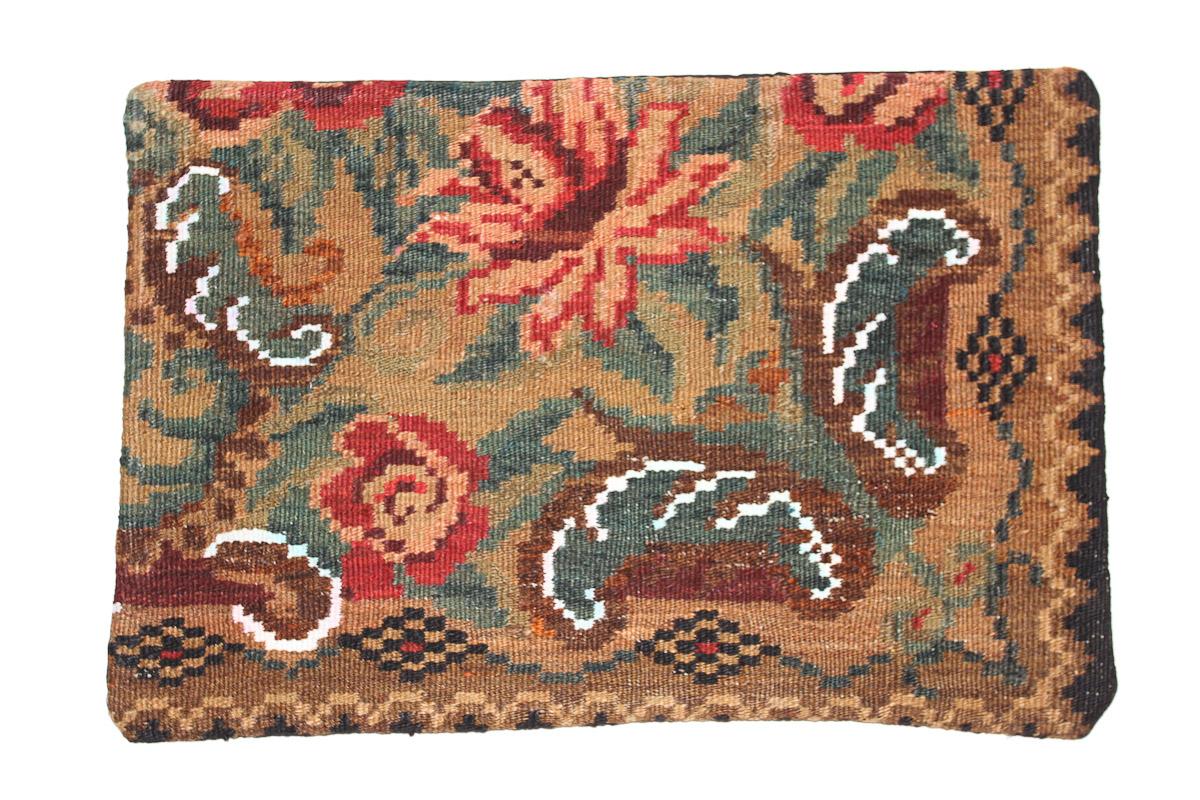 Rozenkelim kussen nr 1619 (60 cm x 40 cm) Kussen gemaakt van authentieke rozenkelim, inclusief binnenkussen