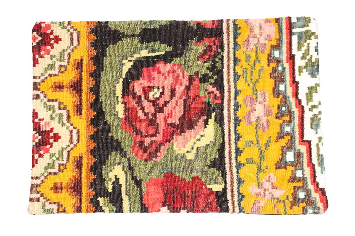 Rozenkelim kussen nr 1620 (60 cm x 40 cm) Kussen gemaakt van authentieke rozenkelim, inclusief binnenkussen