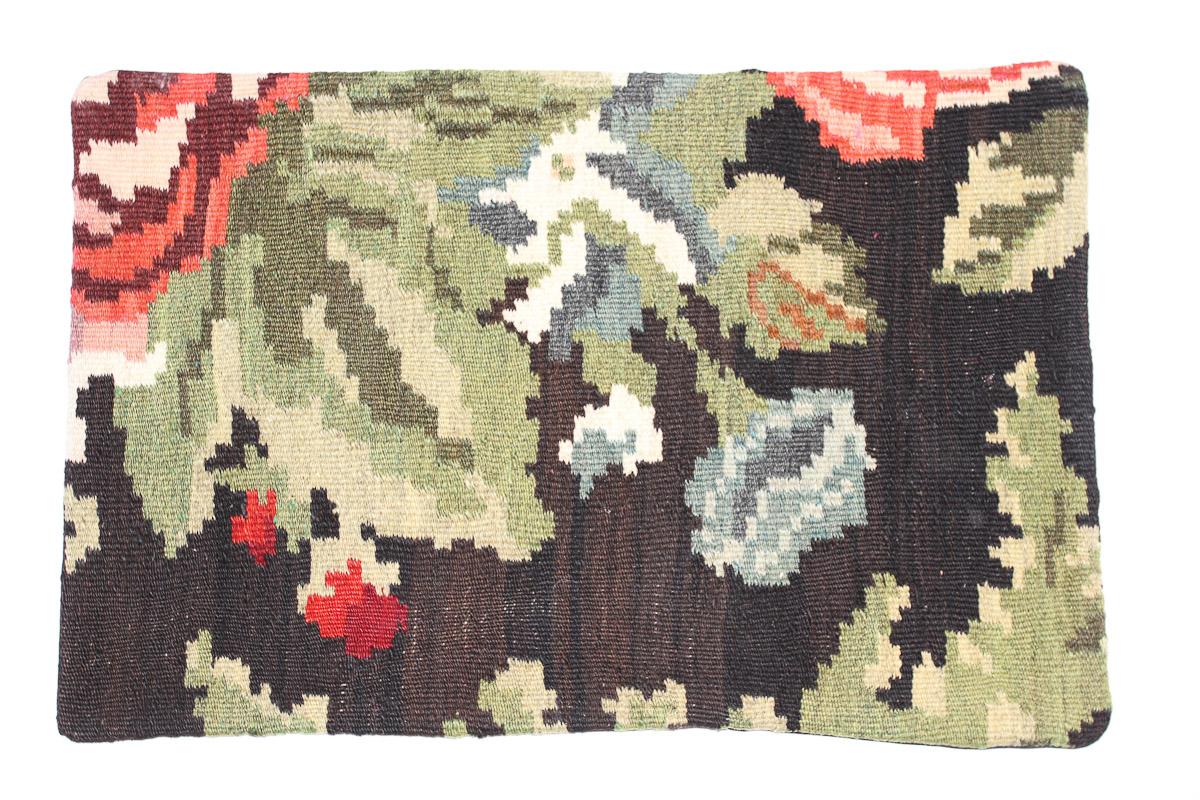 Rozenkelim kussen nr 1621 (60 cm x 40 cm) Kussen gemaakt van authentieke rozenkelim, inclusief binnenkussen