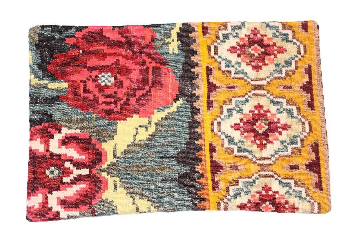 Rozenkelim kussen nr 1623 (60 cm x 40 cm) Kussen gemaakt van authentieke rozenkelim, inclusief binnenkussen