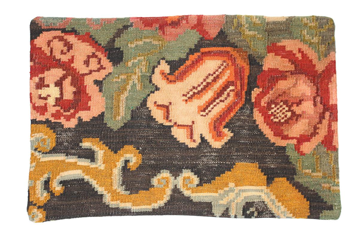 Rozenkelim kussen nr 1624 (60 cm x 40 cm) Kussen gemaakt van authentieke rozenkelim, inclusief binnenkussen