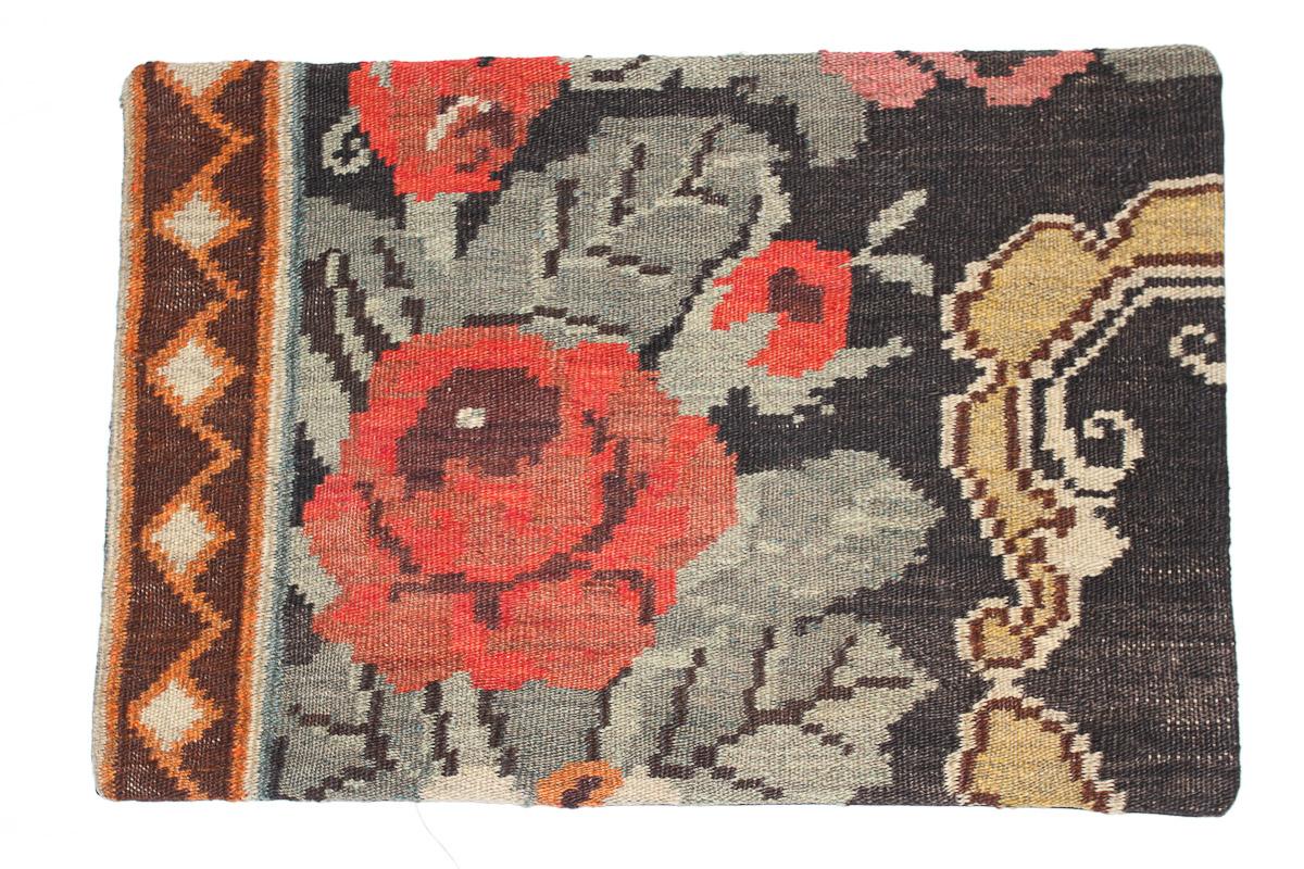 Rozenkelim kussen nr 1625 (60 cm x 40 cm) Kussen gemaakt van authentieke rozenkelim, inclusief binnenkussen
