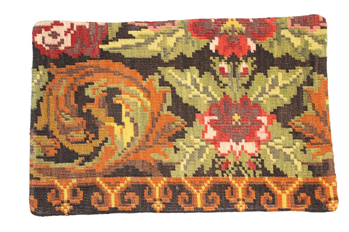Rozenkelim kussen nr 1626 (60 cm x 40 cm) Kussen gemaakt van authentieke rozenkelim, inclusief binnenkussen