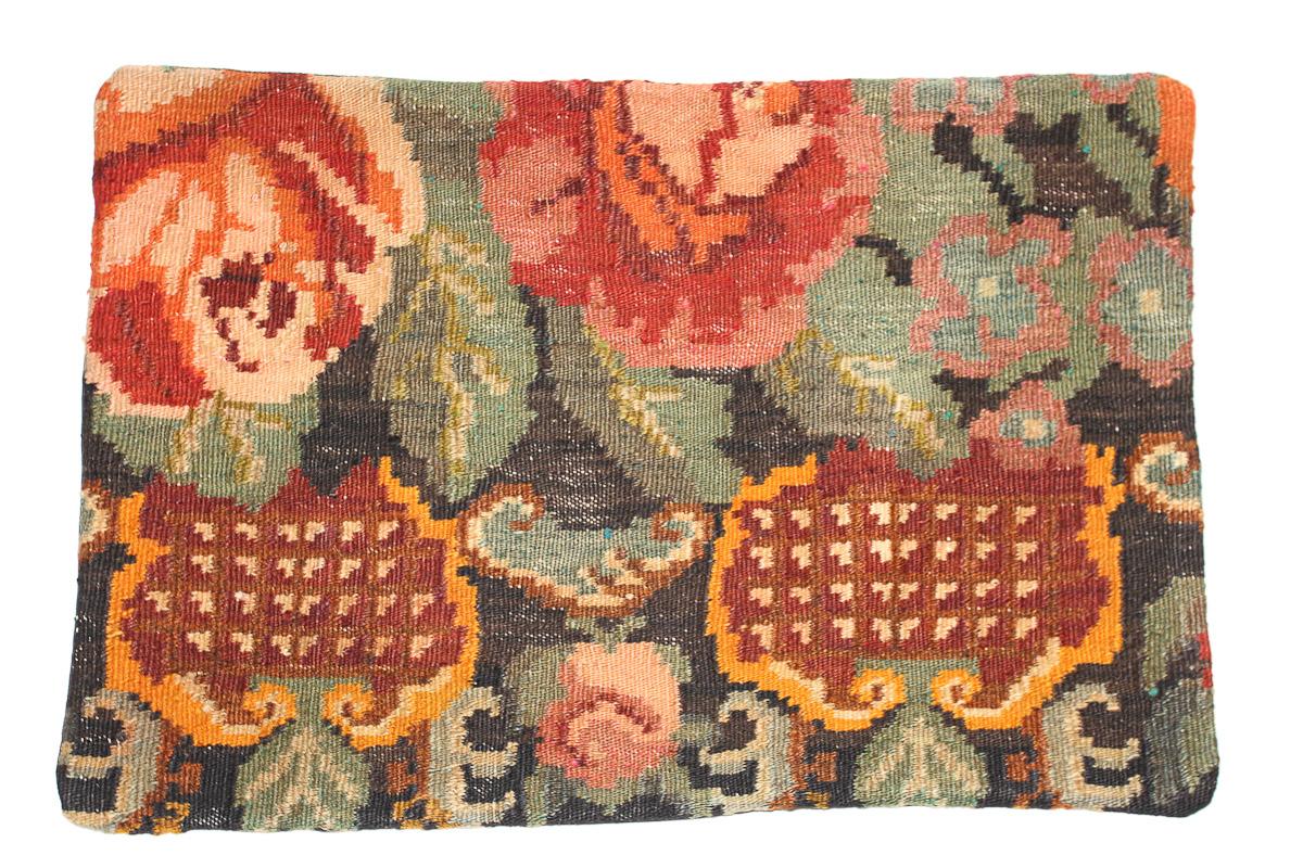 Rozenkelim kussen nr 1633 (60 cm x 40 cm) Kussen gemaakt van authentieke rozenkelim, inclusief binnenkussen