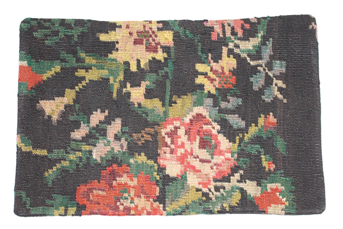 Rozenkelim kussen nr 1635  (60 cm x 40 cm) Kussen gemaakt van authentieke rozenkelim, inclusief binnenkussen