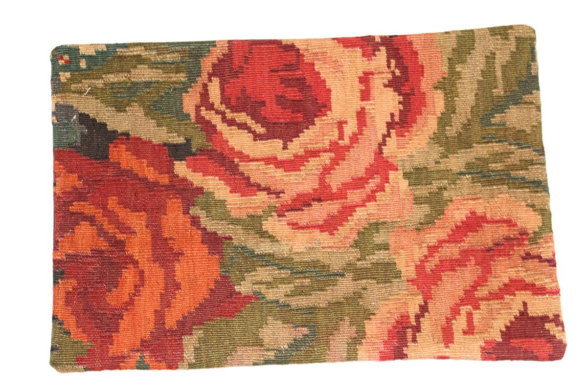 Rozenkelim kussen nr 1642 (60 cm x 40 cm) Kussen gemaakt van authentieke rozenkelim, inclusief binnenkussen