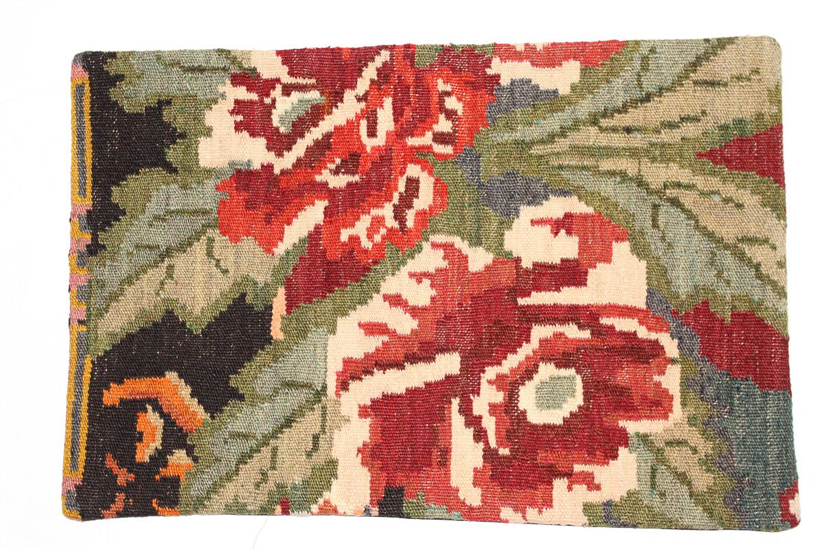 Rozenkelim kussen nr 1646 (60 cm x 40 cm) Kussen gemaakt van authentieke rozenkelim, inclusief binnenkussen