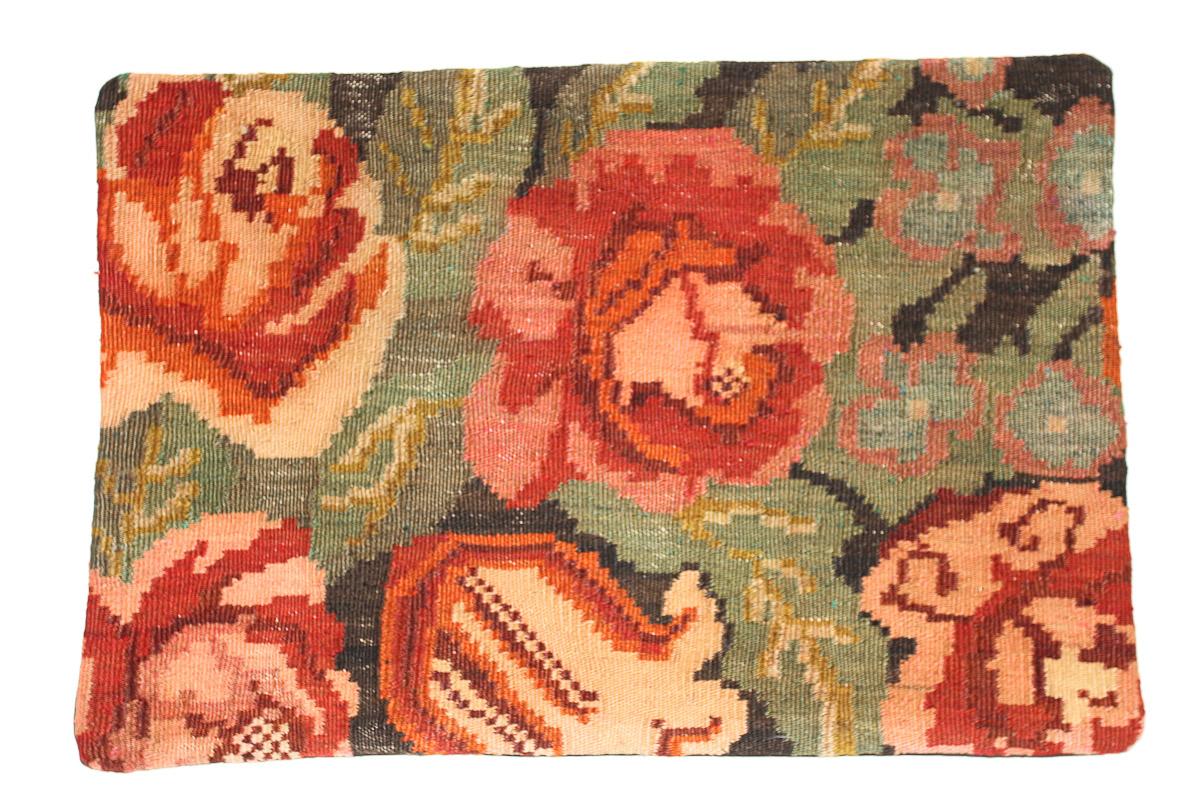 Rozenkelim kussen nr 1651 (60 cm x 40 cm) Kussen gemaakt van authentieke rozenkelim, inclusief binnenkussen