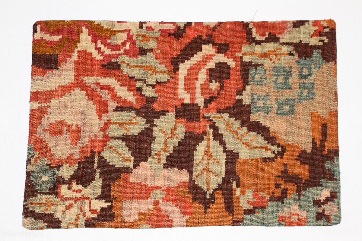 Rozenkelim kussen nr 1653 (60 cm x 40 cm) Kussen gemaakt van authentieke rozenkelim, inclusief binnenkussen