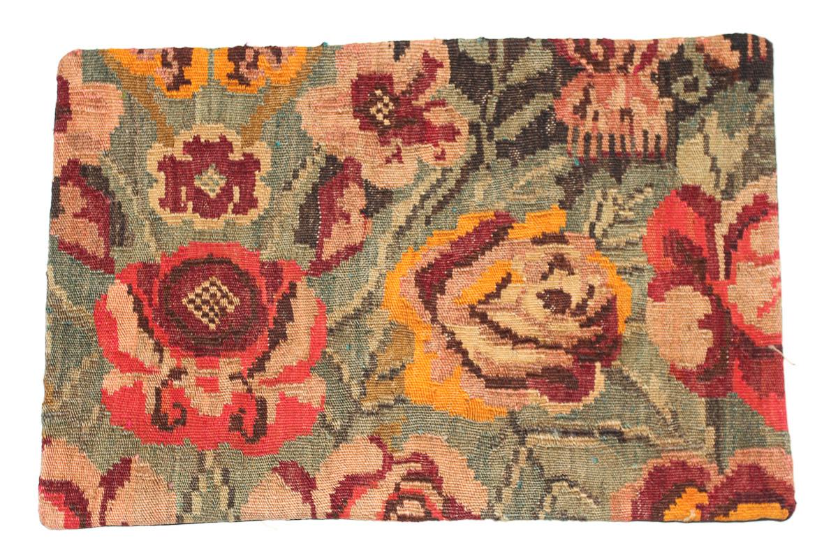 Rozenkelim kussen nr 1654 (60 cm x 40 cm) Kussen gemaakt van authentieke rozenkelim, inclusief binnenkussen