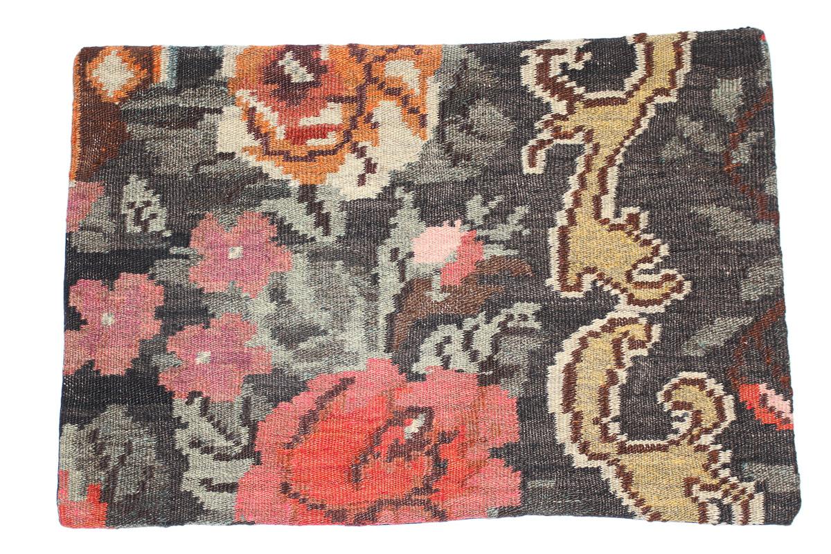 Rozenkelim kussen nr 1655 (60 cm x 40 cm) Kussen gemaakt van authentieke rozenkelim, inclusief binnenkussen