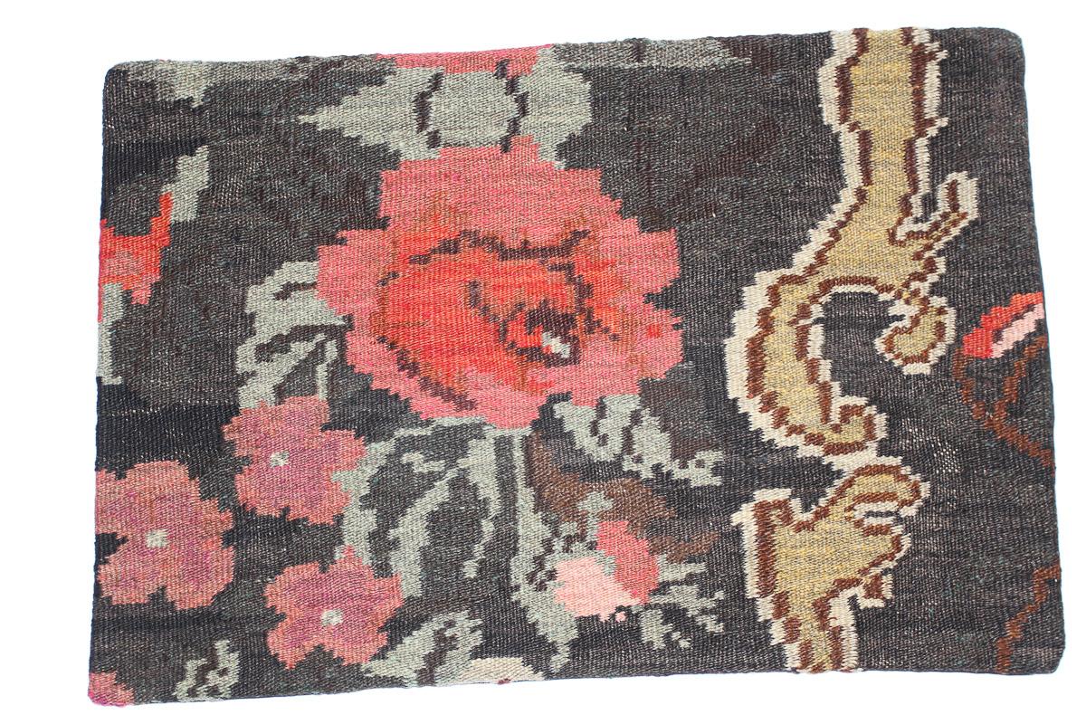 Rozenkelim kussen nr 1656 (60 cm x 40 cm) Kussen gemaakt van authentieke rozenkelim, inclusief binnenkussen