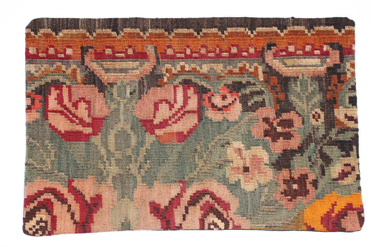 Rozenkelim kussen nr 1658 (60 cm x 40 cm) Kussen gemaakt van authentieke rozenkelim, inclusief binnenkussen