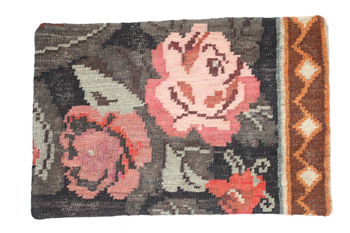 Rozenkelim kussen nr 1662 (60 cm x 40 cm) Kussen gemaakt van authentieke rozenkelim, inclusief binnenkussen