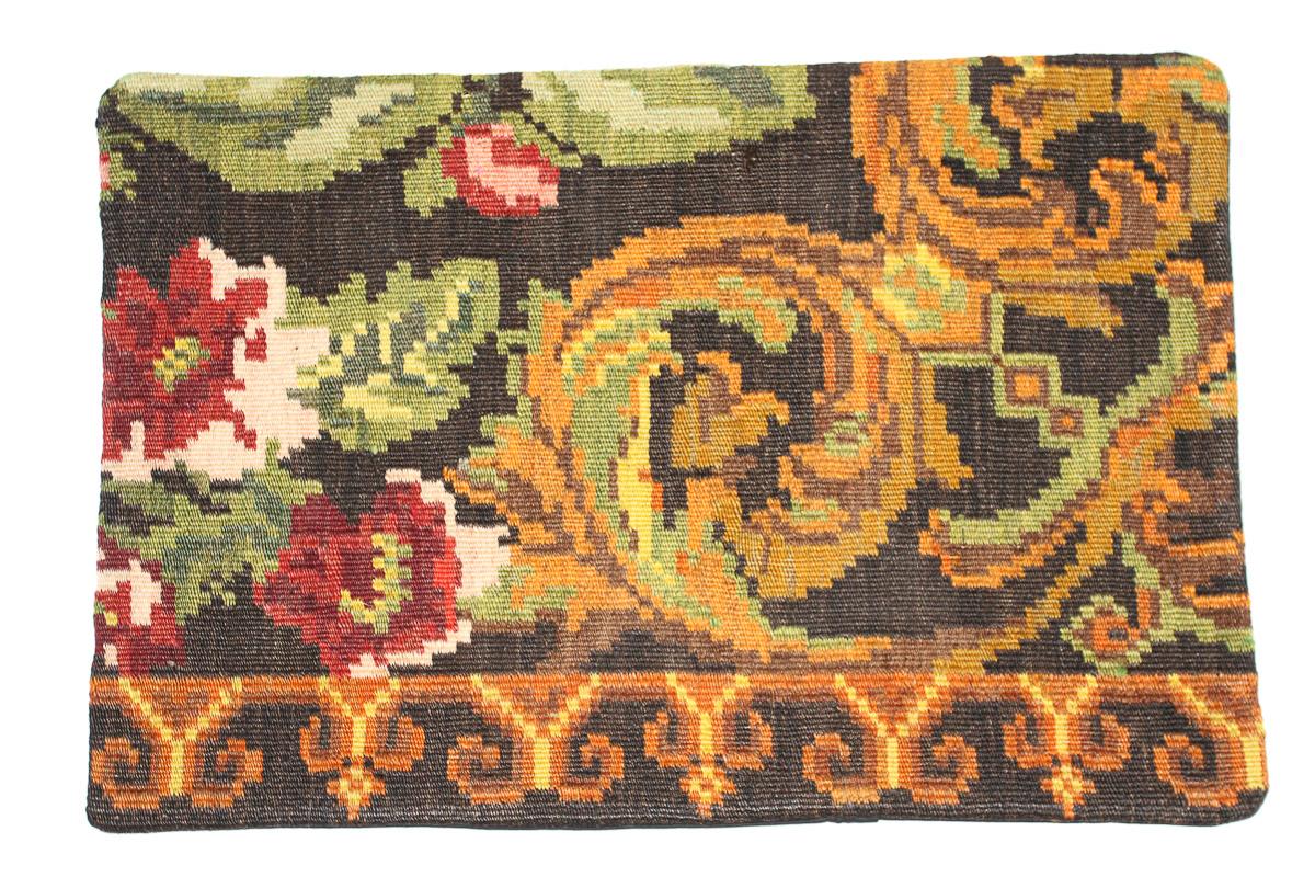 Rozenkelim kussen nr 1665 (60 cm x 40 cm) Kussen gemaakt van authentieke rozenkelim, inclusief binnenkussen