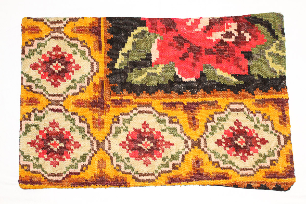 Rozenkelim kussen nr 1666 (60 cm x 40 cm) Kussen gemaakt van authentieke rozenkelim, inclusief binnenkussen